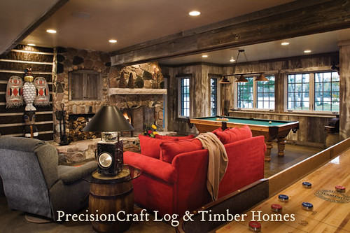 Custom design hybrid log timber home family game roo - Family game room ideas ...