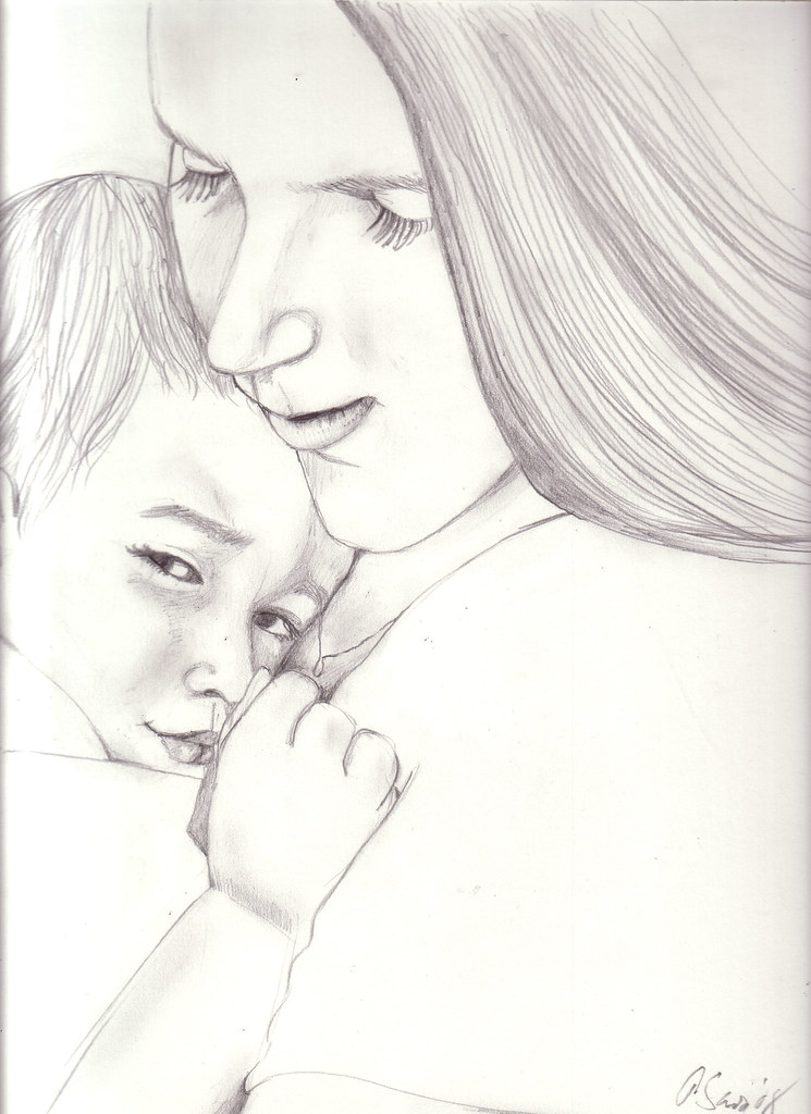 Mother and child pencil sketch by lovebabyart
