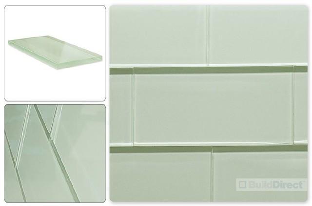 White Glass Subway Tile Kitchen