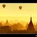 Myanmar - Balloons Flying over Mystical Bagan during Wonderful Sunrise