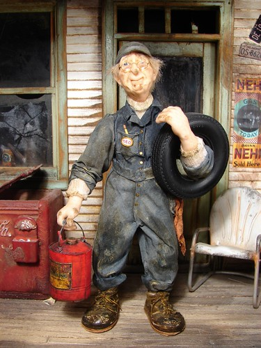 Mechanic Ted at the Old Service Station 1:12 Scale Dollhouse Miniature Doll | by MiniatureMadness