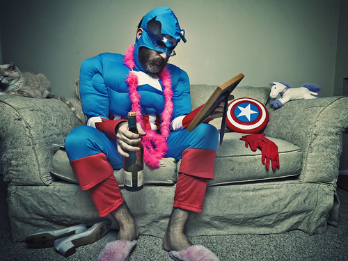 Something about superhero's, Muppets™, whiskey, stuffed animals and pink slippers (062/365) | by wiseacre photo