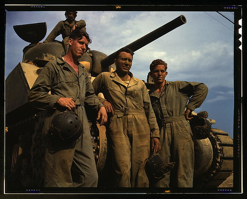 Tank crew standing in front of an M-4 tank, Ft. Knox, Ky.  (LOC) | by The Library of Congress