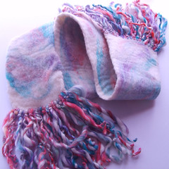 Cotton Candy Handmade Felted Wool Scarf #2 | by thefunkyfelter