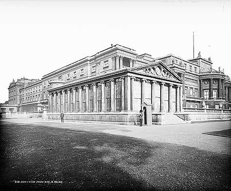 Buckingham palace an old photo of buck house 1870s - Is there a swimming pool in buckingham palace ...