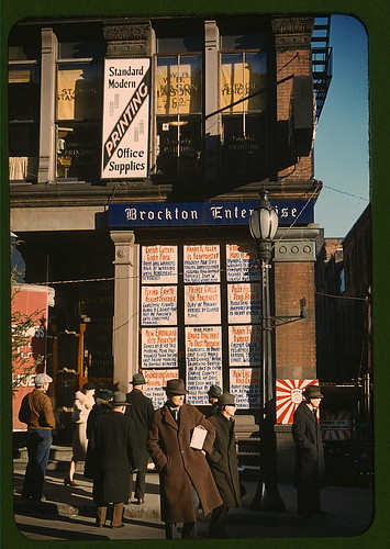 Headlines posted in street-corner window of newspaper off[ice] (Brockton Enterprise) ... Brockton, Mass.  (LOC) | by The Library of Congress