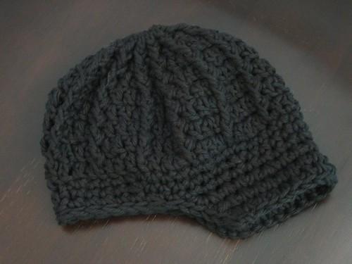 Newsboy Baby Hat Pattern - Black Cotton Crochet Visor Bean ...