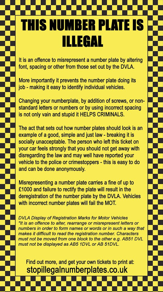 Faux Parking Ticket For Illegal Number Plates New