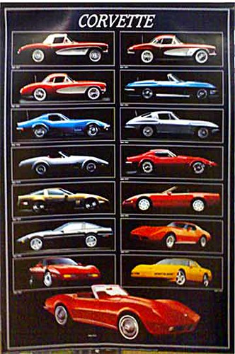 Free Car History Report >> Corvette - Through The Years - Car Poster | Firstposter ...