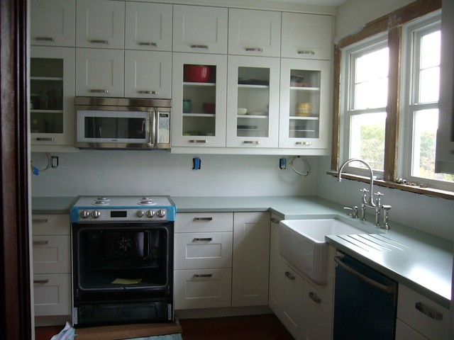 Kitchens White Cabinets Galley Farmhouse Small