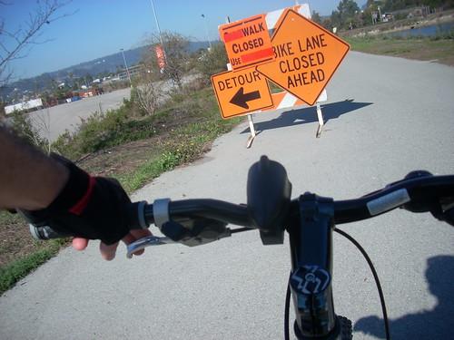 Bike path detour