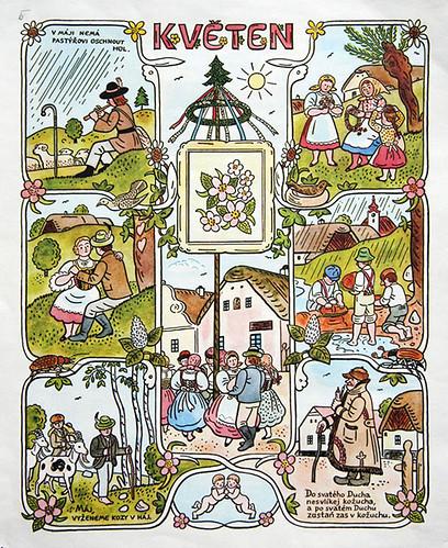 Josef Lada Calendar: May | josef lada. illustration. calenda ...
