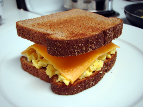 The Levitating Scrambled Cheddar Egg Sandwich | by Andy on Flickr