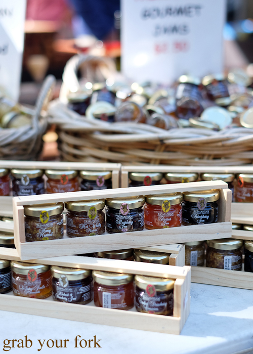 Tasmanian jams and honeys at the Salamanca Market in Hobart
