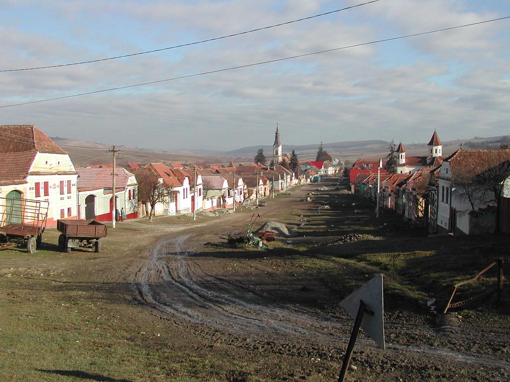 Romanian Village Dacia High Street Near Rupea View Of