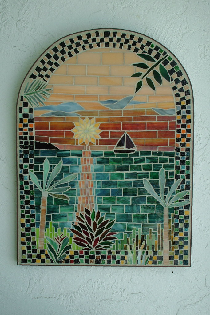 Sunset Sailing - Stained Glass Mosaic Wall Art   18\