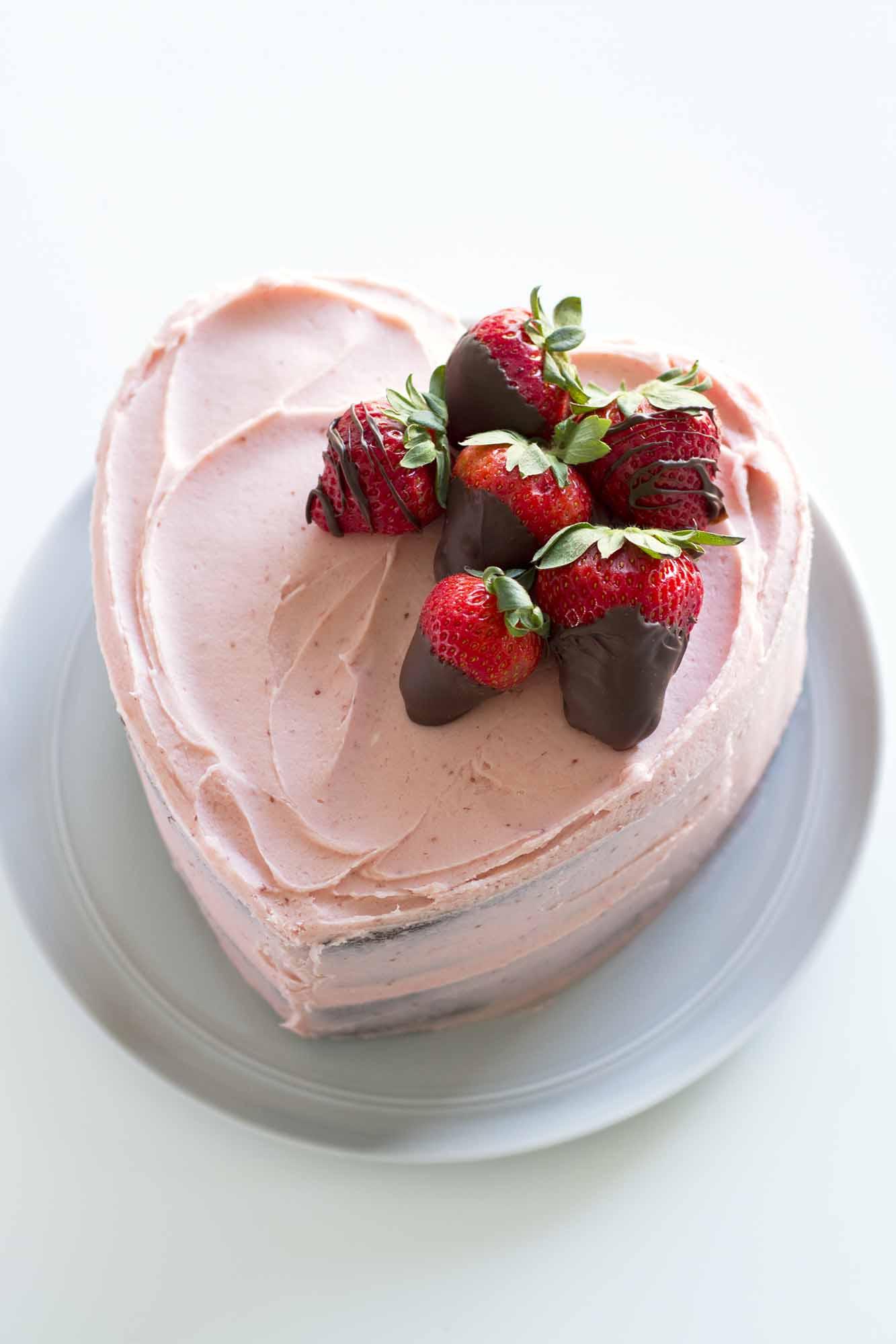 Heart Shaped Chocolate Strawberry Cake | girlversusdough.com @girlversusdough