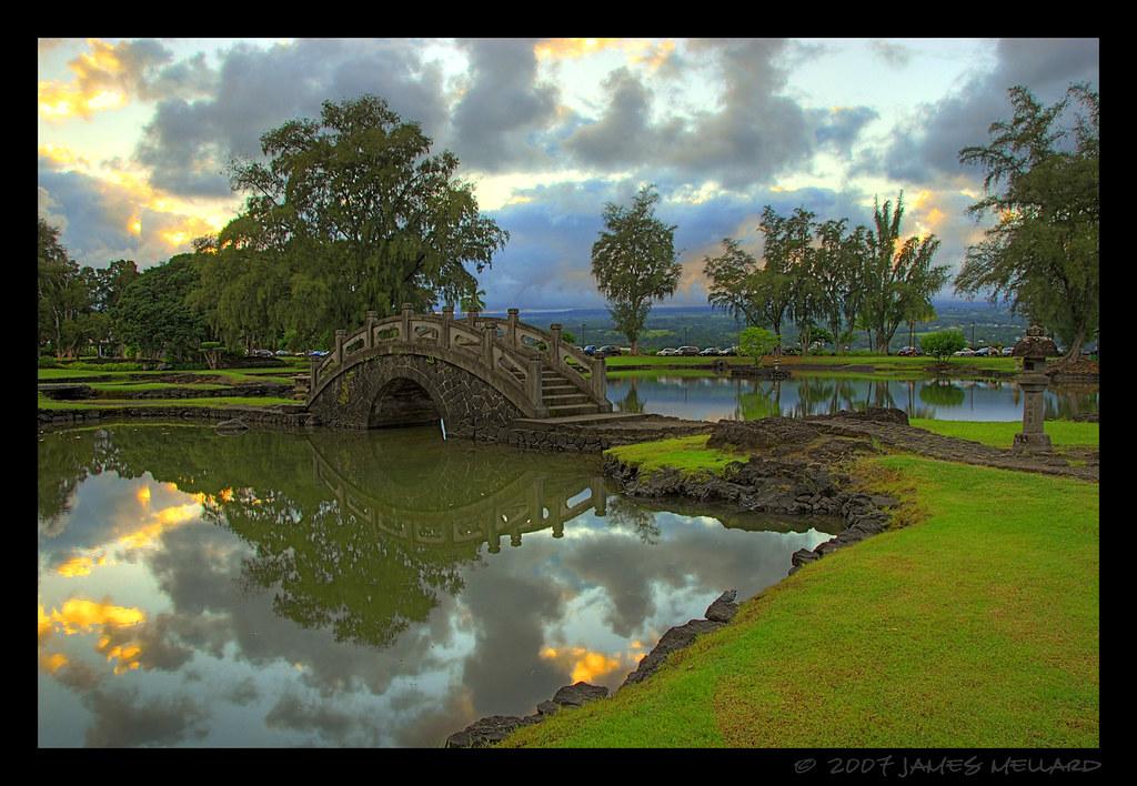 Hilo 39 s japanese garden bridge bridge in the formal for Formal japanese garden