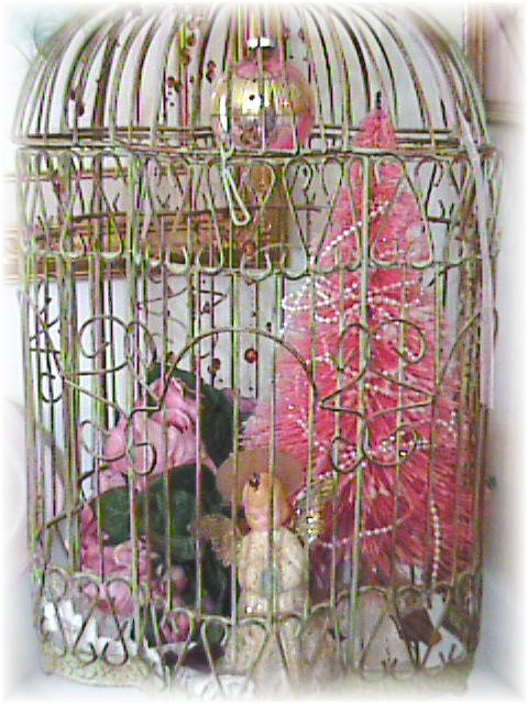 birdcage with vintage christmas decor by bluebird becca