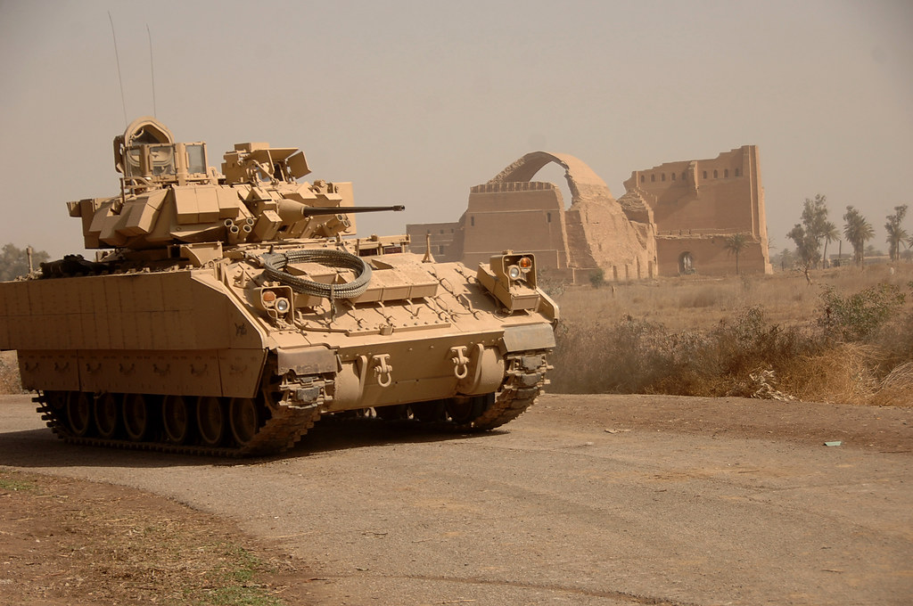 Iraq A Bradley Fighting Vehicle Provides Security As U S