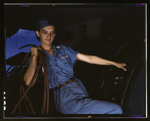 With a woman's determination, Lorena Craig takes over a man-size job, Corpus Christi, Texas. Before she came to work at the Naval air base she was a department store girl. Now she is a cowler under civil service  (LOC) | by The Library of Congress