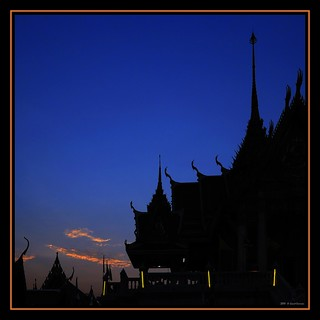 A Thai temple, sunset