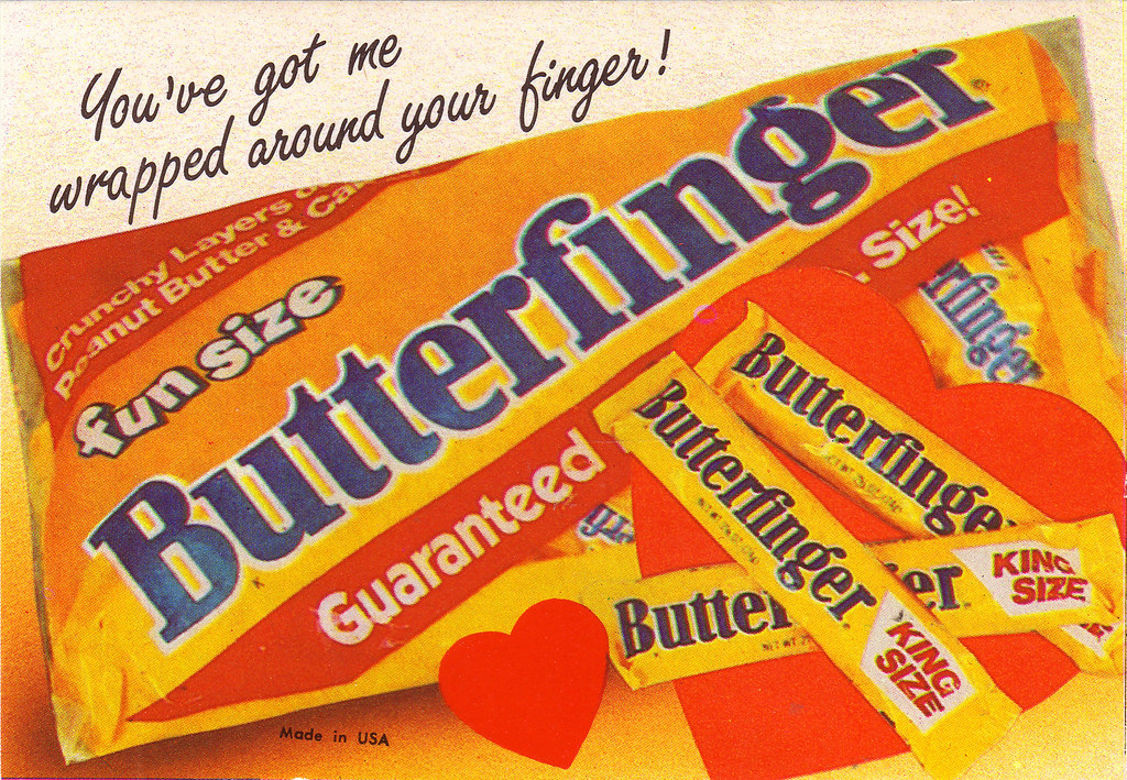 Candy Valentine Card Butterfinger 1980s This is a neat – Candy Valentine Card