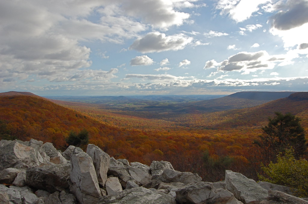 Hawk Mountain Sanctuary View East Over The River Of