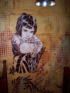 C215 - NINA (wall painting at the Stencil Show Off - Chamane Café - Paris) | by C215