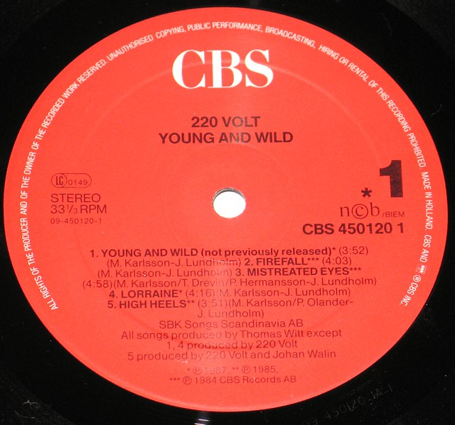 "220 Volt Young and Wild 12"" vinyl LP"