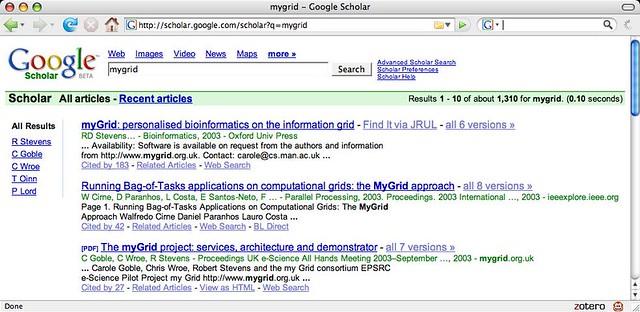 google scholar mygrid