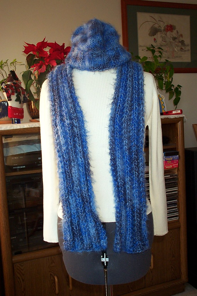 Angel Hair hat scarf blue Pattern: Hat - my own, scarf ...