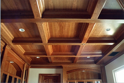 Cherry Coffered Ceiling Trim Natural Cherry Woodwork