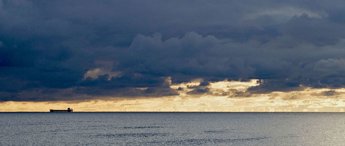 Big ship on the horizon at Troon | by gdelargy
