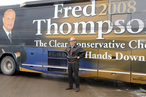 Fred with the Fred '08 tour bus | by freddthompson