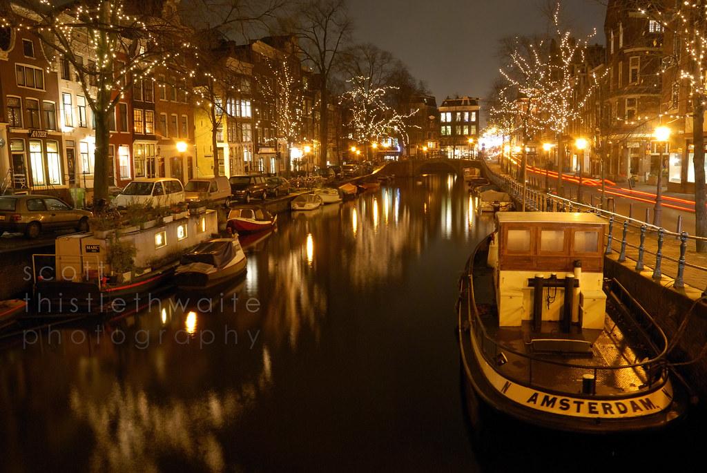 Amsterdam at night spiegelgracht scott for B b amsterdam
