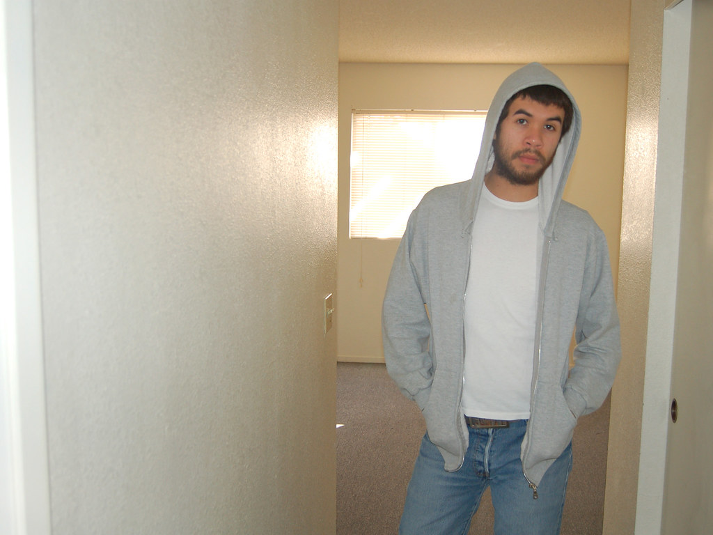 Grey Hoodie White Shoes