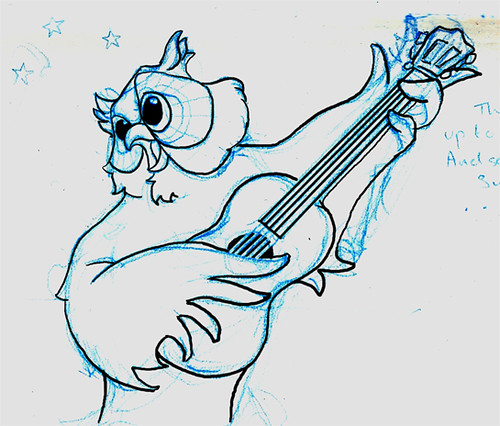 owl playing the guitar - photo #32