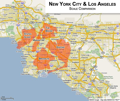 A comparison of the cities of new york and los angeles