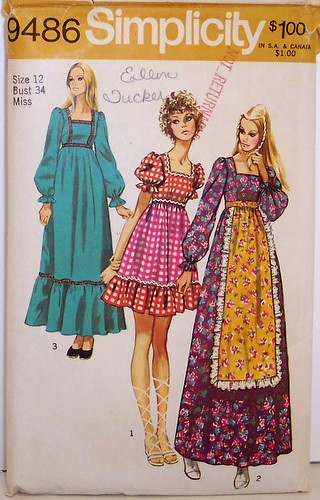 Vintage Simplicity Pattern 9486 70 S Boho Dress Short And