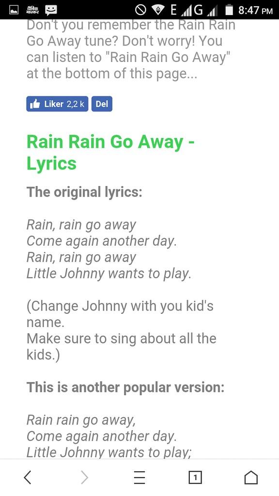 Lyric rain rain go away lyrics : Screenshot_2017-02-22-20-47-11 | allinoneneha | Flickr