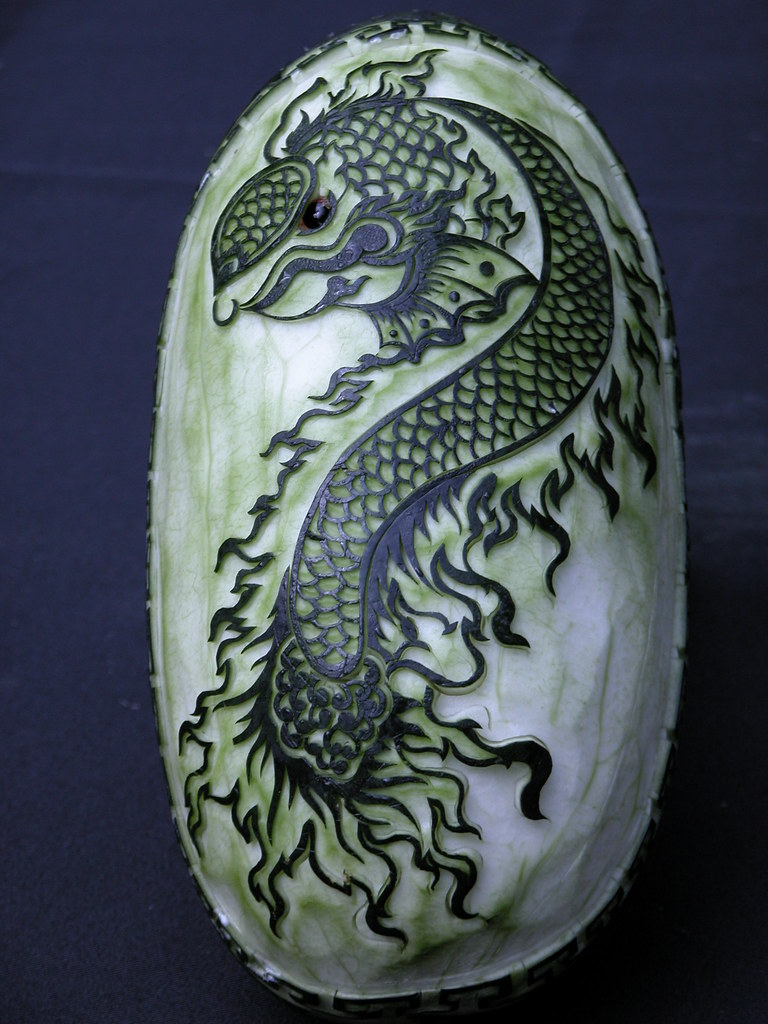 Watermelon dragon etched into