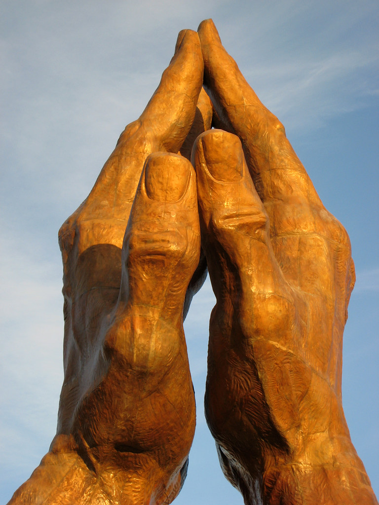 Praying Hands, a 30 ton 60 ft tall bronze statue at Oral ...