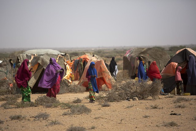 Temporary huts at a camp for internally displaced people