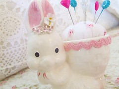 Vintage Bunny Pincushion | by Shabby Roses Boutique