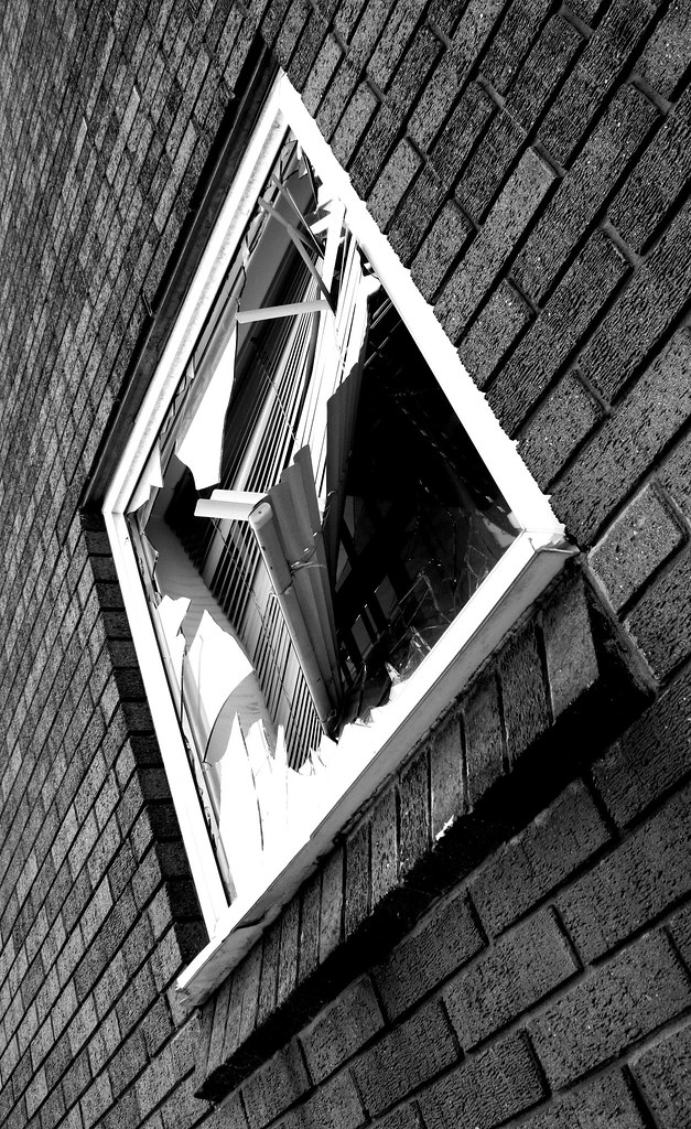 broken window in b w abulic monkey flickr. Black Bedroom Furniture Sets. Home Design Ideas