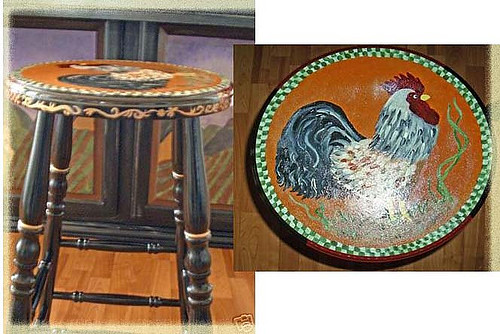 Hand Painted French Country Rooster Bar Stools More