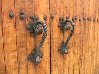 Door Handles on Wooden Door | by Melina.
