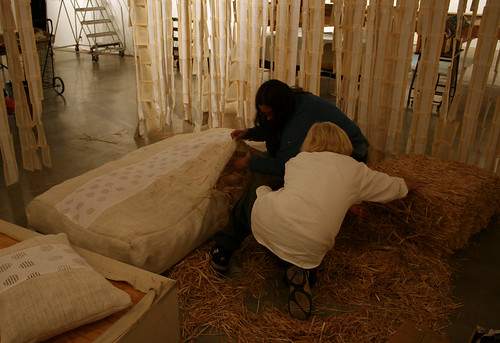 Edith and Pirkko DeBarr stuffing Marie Anoinette's mattress for 280 - Edith Abeyta - Salty Three Tales of Sorrow at El Camino Colllege | by Marshall Astor - Food Fetishist