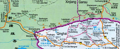 Northwest Qinghai Province Road Map, in Chinese with some English, with distances, China | by centralasiatraveler